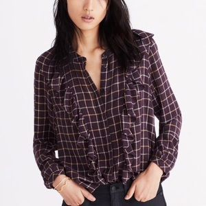 NWT Madewell plaid ruffle-front top